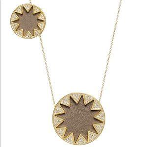 EUC House of Harlow pavé sunburst leather necklace